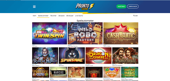 Pronto Casino spel